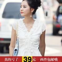 free shiping 2013 fashion summer women's short-sleeve top ol slim satin chiffon shirt short-sleeve T-shirt female 672