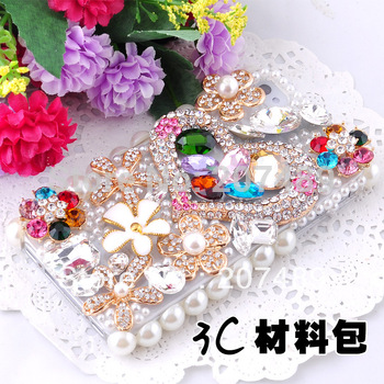 3D luxurious shiny heart flowers Rhinestone  cell phone cases DIY kits decorations gift whcn