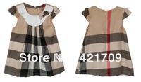 Free shipping 1piece Girls' apricot Plaid Cotton sleeveless dress