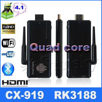 quad core CX-919 Android 42.2 Mni PC TV Box RK3188 Quad Core 2GB RAM/8GB ROM 1.6Ghz  BT/HDMI Black Bluetooth 4.0