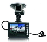 "S5000L HD 720P H.246 2.8""TFT Screen Mini Dual Lens Car DVR Recorder Free Shipping"