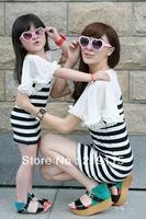 2013 summer new Family fitted   female Korean version of women's dress girls t-shirt