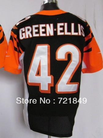 5-10Day Free shipping American Bengals #42 BenJarvus Green-Ellis Elite Football Jerseys or Game Jersey Mens white,orange,black(China (Mainland))