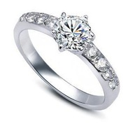 Free shipping hot sell fashion 925 sterling silver & shiny zircon & platinum plated female finger rings jewellery wholesale