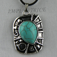 hot sale cool natrual  2013 tibetan jewelry mini turquoise   pendant  blue necklace antique plated tibet silve 925 free shipping
