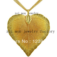 24k real gold or sterling silver plating natural leaf  heart leaves