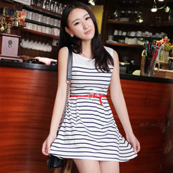 Hot Sale High Quality Good Price Popular Buy 2013 summer navy stripe slim 100% cotton stripe one-piece dress(China (Mainland))