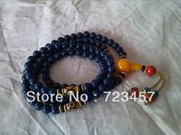"Rare, Tibetan ""108 bead"" Lapis lazuli+ Three Eye Dzi amulet Pendant"