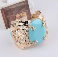 Min order is $15(Mixed order)Fashion 2013 Exaggerated Big Blue Turquoise Wide Bangle Bracelets ,freeshipping