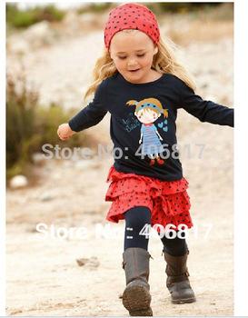 Big Promotion 2014 Autumn New children's  set Girls Casual Clothing suit/headband+ Cute  long sleeve t shirt+ mini skirt+pants