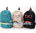 New Fashion glasses mustache backpack 6 colors travelling bag schoolbag Free shipping