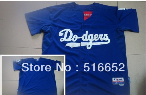Free Shipping with EMS Dodgers blank style cool base Baseball Jersey size 48-56, mix order(China (Mainland))