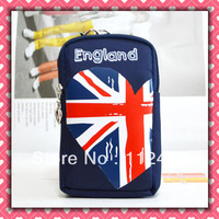 Free shipping UK flag zipper coin purse wallet cell phone bag,camera bag