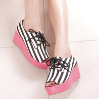 Spring spring pure gladiator style stripe casual open toe platform shoes lacing sandals platform shoes female shoes