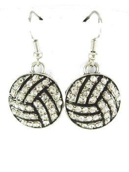 Beautiful Dangle Crystal  Bling  Volleyball Earrings New .Free shipping