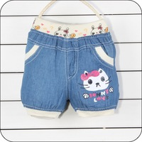 Children's clothes wholesale 2013 summer new girls fashion cartoon kitty shorts Free shipping 4 pcs/lot