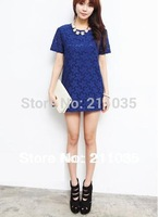 Free Shipping Women's plus size loose  hollow short-sleeved lace dress chiffon T-shirt,R93,DY E502 6301