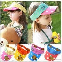 Free shipping new arrival children kids sun hats girls dot little bear cotton casual empty top hats caps