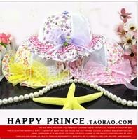 Free shipping new summer children kids bucker hats girls casual double floral chiffon lace princess caps cute