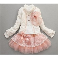 4sets girls lace flower clothing set (tee shirt +coat +skirt ) 3pcs whole suits girl's pink white Watermelon red clothes sets