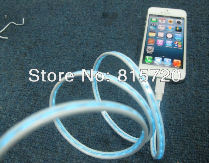 Visible Flowing Cold Light Sync Charging Data Cable for iPhone 5 5G,LED Data Cable White Color,HK Post Freeshipping 1 pcs(China (Mainland))