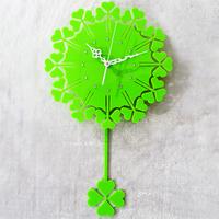 Fashion home decoration cloverleaf shape wall clockS pendulum clock Idyllic home decor crystal acrylic vivid green  hot-selling