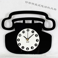 Fashion wall clock table antique telephone clock personalized wall clock advanced silent movement correct timing