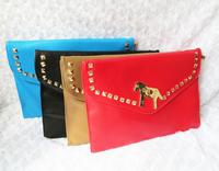 2013 Brand handbag,women's brand bag   vintage rivet metal lock envelope clutch bag day one shoulder cross-body bags female
