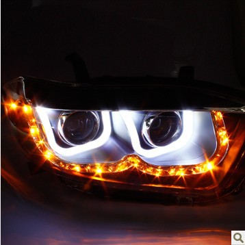 "Free shipping 2009-2011toyota highlander headlights headlamps Double ""U"" LED HID Hernia lamp for auto car parts angel eyes(China (Mainland))"