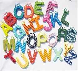 A-Z 26 Alphabets items wooden fridge magnets 26 letters refrigerator sticker for kids education DIY toy free shipping(China (Mainland))
