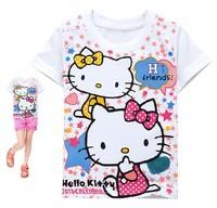 free shipping  2013 new  fashion summer  children t-shirt  cotton hello kitty girl'sT-shirt  best quality