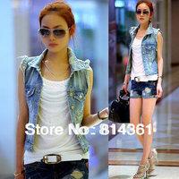 Best Selling!!Washing frayed vest women 2014 summer new personalized cardigan denim vest waistcoat Free Shipping