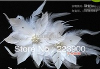 2013 Beautiful Bride Veil White pearl Feather Wedding Hats Feathers Fascinator