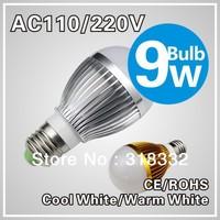 9w LED bulb,Dimmable Bubble Ball Bulb AC85-265V ,E14 E27 B22 GU10,silver/gold shell color,warm/cool white,3*3w +freeshipping