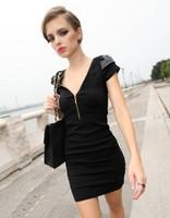 Free shipping mini party dress V-neck sexy dress