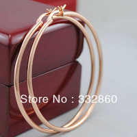 18K Rose Gold Plated Big Round Women Ladies Girls Trendy Plain Hoop Earrings