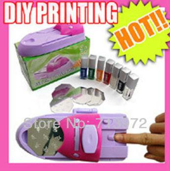 DIY Nail Stamping Printing Machine Polish Art Set With Nail Polish Free Shipping