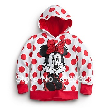 2013 new style ,5pcs/lot Bow Minnie baby girls cartoon clothing long sleeve hoodies children's sweatshirts free shipping