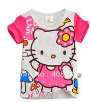 free shipping  2013 new  best quality fashion summer  children t-shirt  cotton hello kitty girl'sT-shirt  tees
