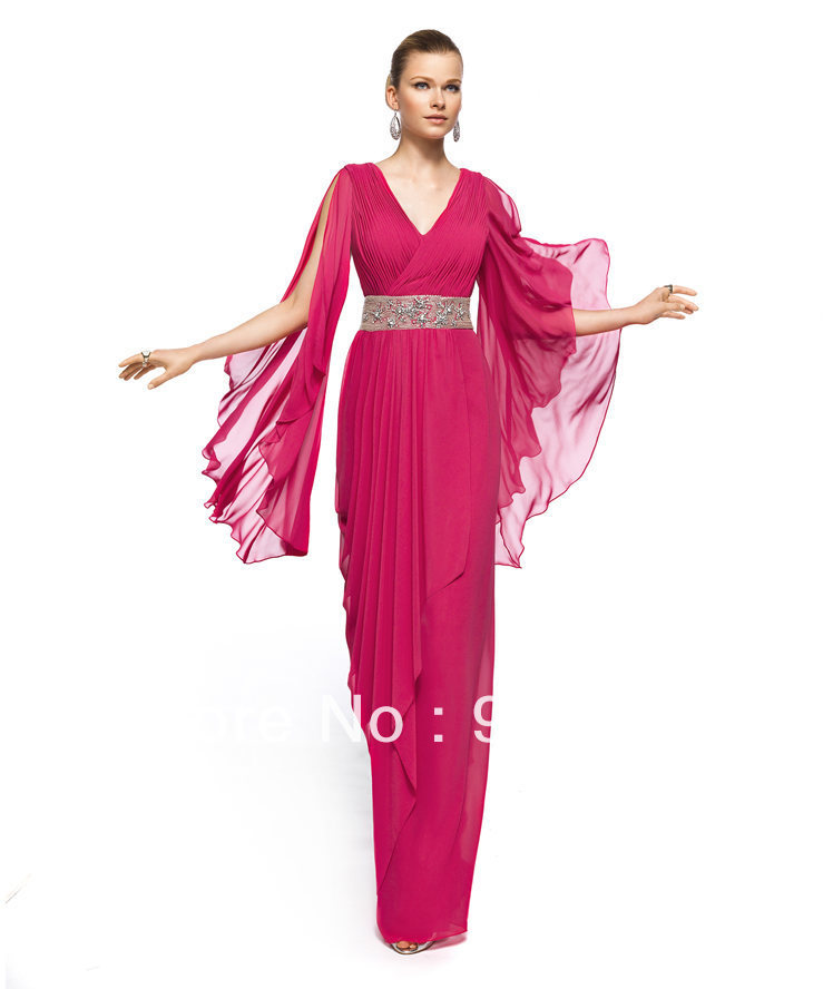 Beautiful Empire V-neck Beaded Waist off the Shoulder Long Sleeves Plum Chiffon Evening Dress(China (Mainland))