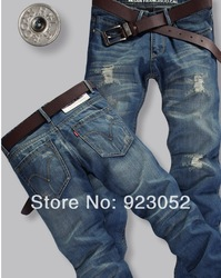 Free Shipping Leisure&Casual pants 2013 New Newly Style TOP brand cotton Men's Jeans Trousers Straight Leg size:28~36(China (Mainland))