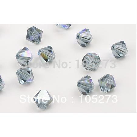 New Arriver Fashion Crystal Jewelry 25 X Top Quality Crystal Bead Indian Sapphire Blue Color 6MM Faceted Bicone Shaper Free Ship(China (Mainland))