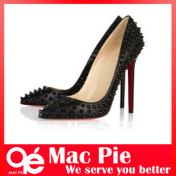 2013 New arrival sexy women red bottom pumps stiletto high heels rivets shoes free shipping(China (Mainland))