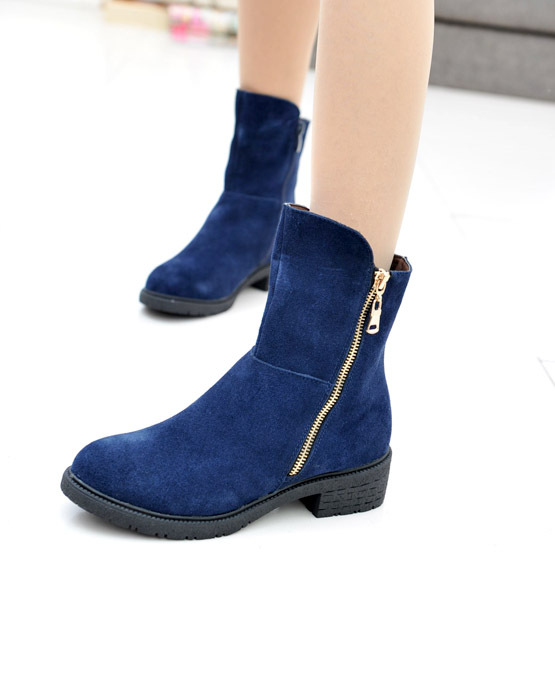 Autumn and winter genuine leather boots nubuck cowhide side zipper popular blue comfortable plain ankle martin boots female(China (Mainland))