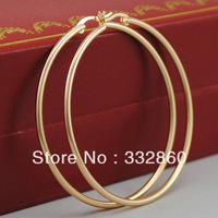 18K Yellow Gold Plated Big Round Women Ladies Girls Trendy Plain Hoop Earrings