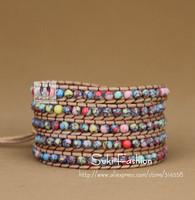 New Arrival 5 Strands Colorful Phoenix Stone Leather Wrap Bracelet , Hot Sale Free Shipping Wrap Bracelet
