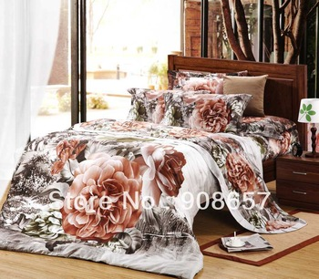 brown luxury peony flower prints bed sets cotton oil painting pattern 3D bedding duvet covers 4pc for full/queen comforter quilt