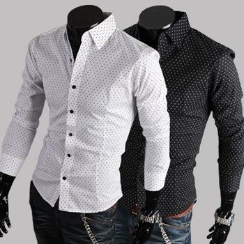 Новая Мужская случайный рубашки slim fit стильные платья рубашки цвета: белый, черный размер: m-l-xl-xxl c38