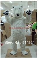 New Polar Bear Mascot Costume Fancy Dress Adult Size   /free shipping
