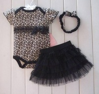 6 set /lot,2013 Summer baby girl's 3 pc sets leopard short sleeve romper suit +chiffon skirt+hairbands infant clothing sets,hot